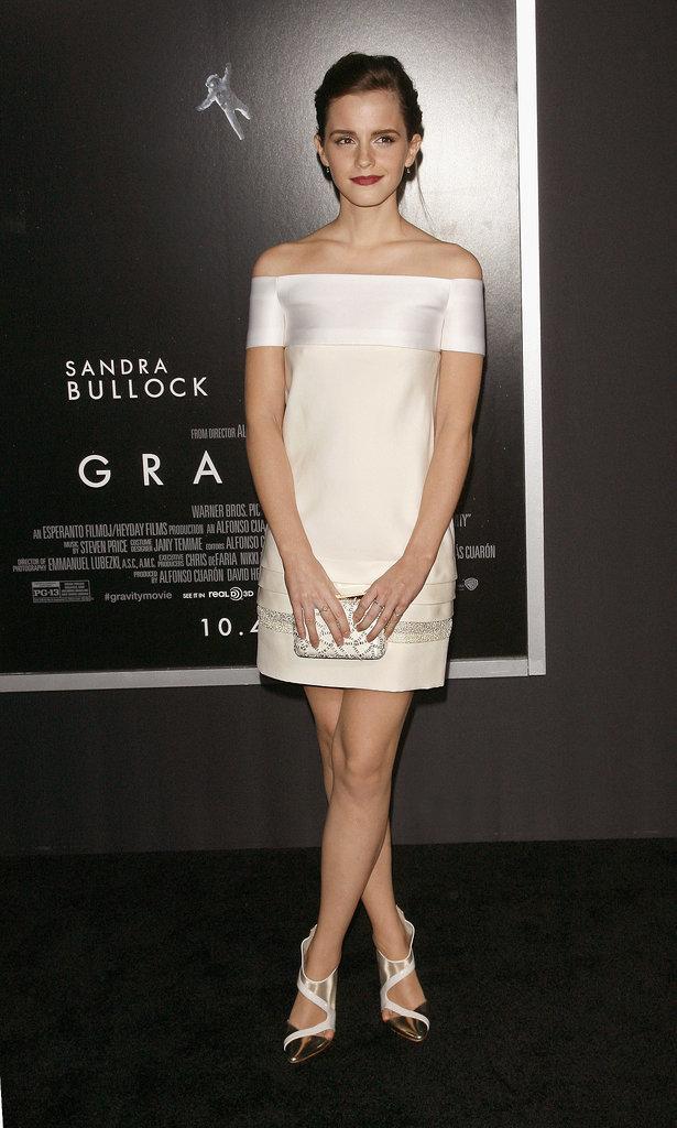Emma Watson in J. Mendel at 2013 Gravity NYC Premiere