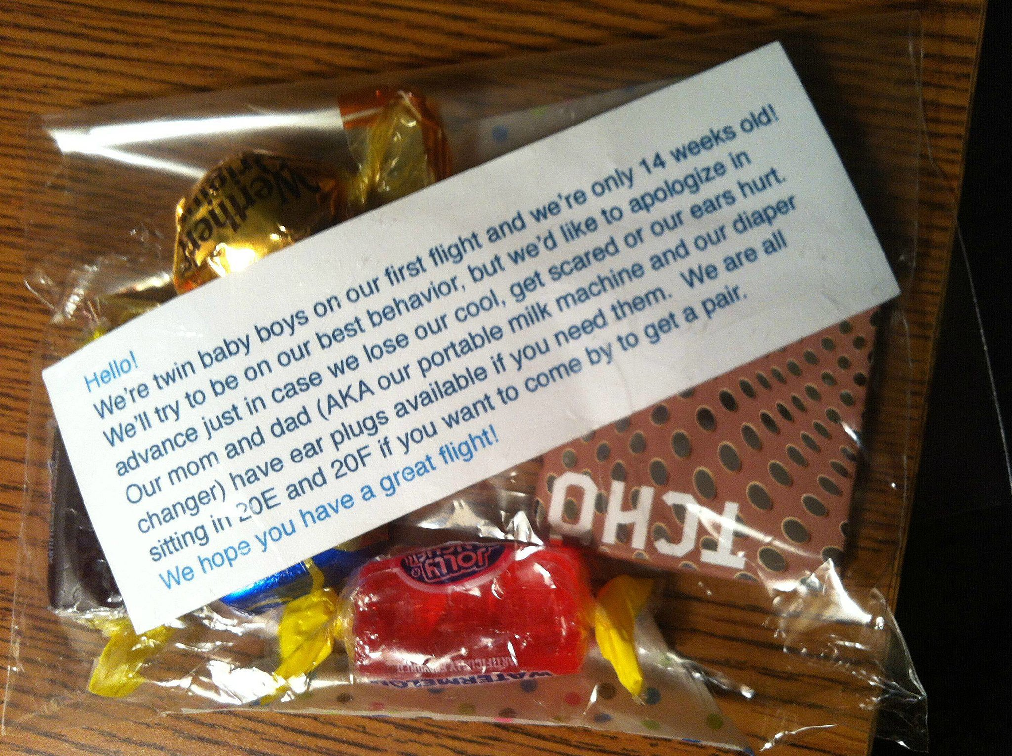 Thoughtful Gesture by Parents on a Plane