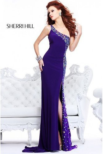 2014 Sherri Hill 21152 One Shoulder Purple Long Prom Dress