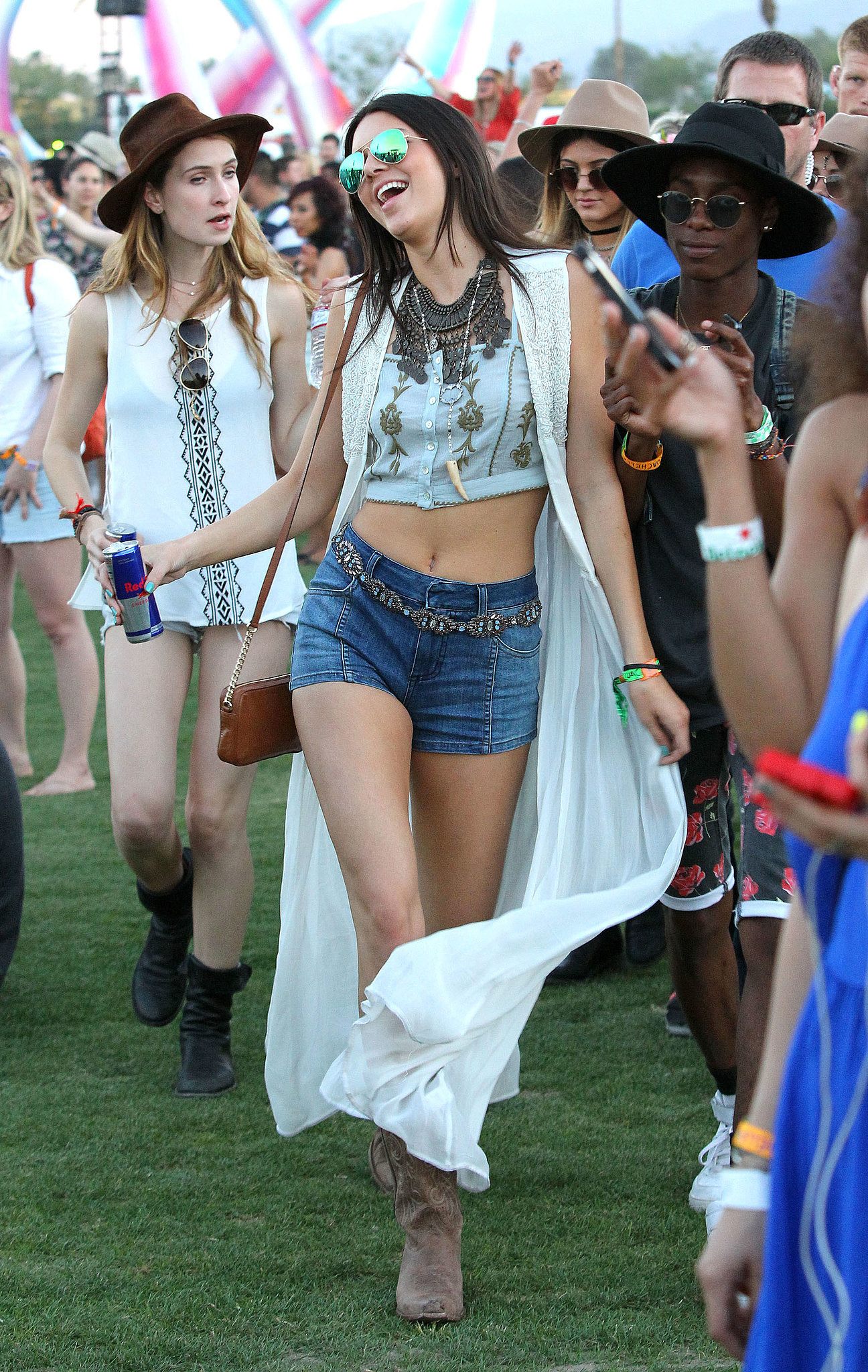 Kendall Jenner bared her midriff.