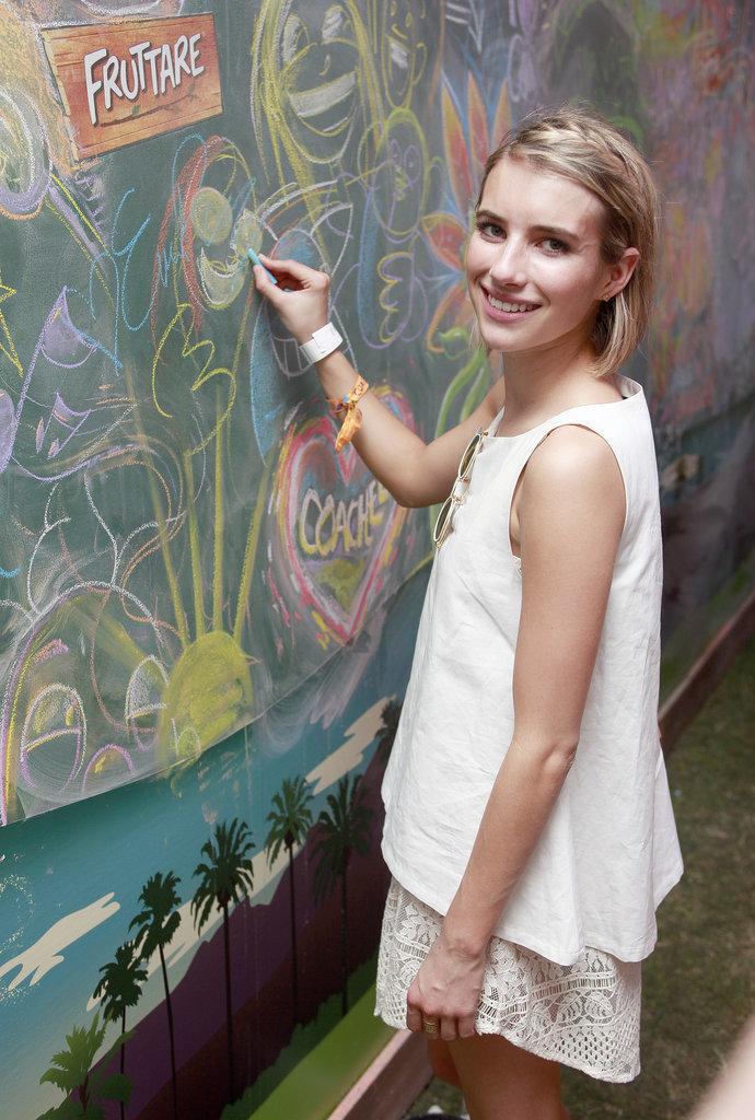 Emma Roberts had fun with chalk.