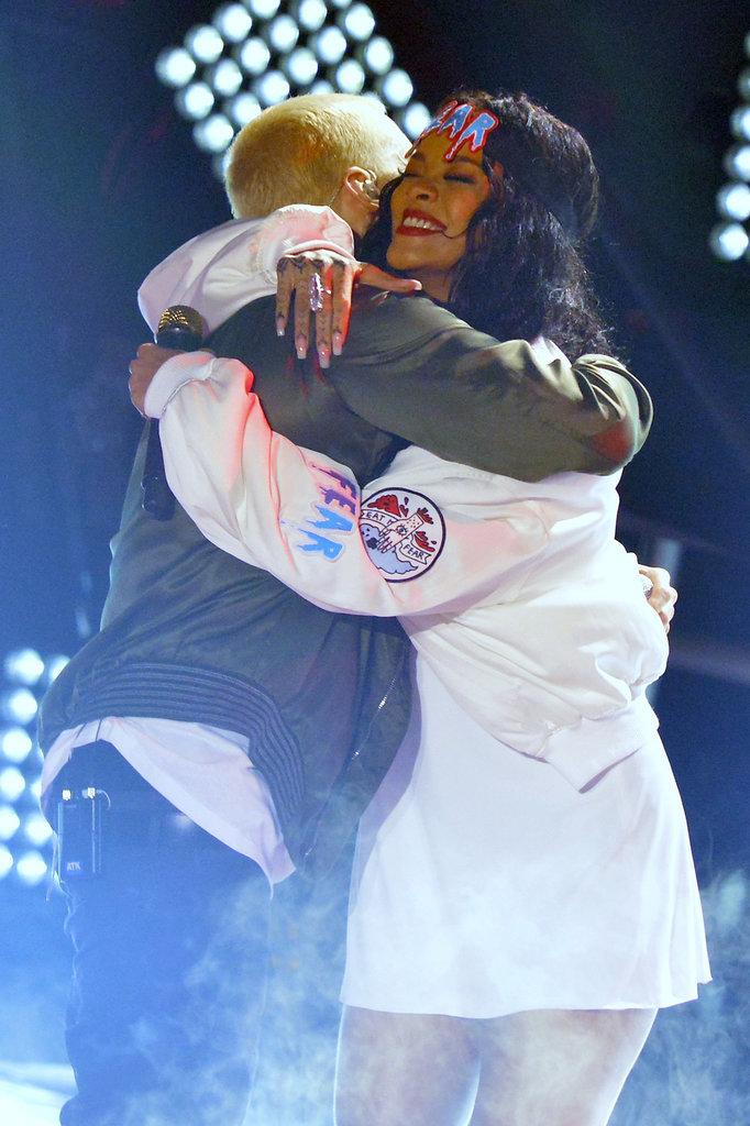 Rihanna hugged Eminem after their performance.
