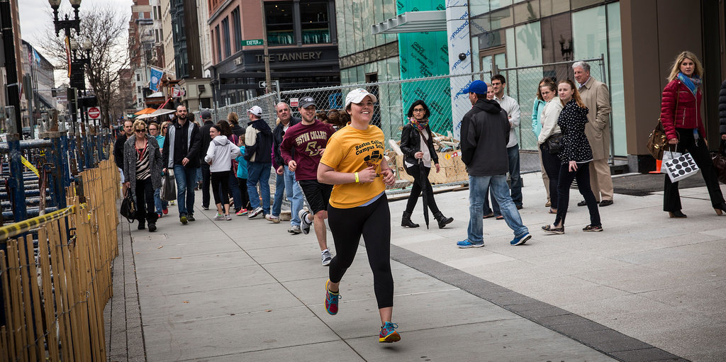 Boston College students were all smiles as they crossed the finish line during their bandit marathon a week before the official race.