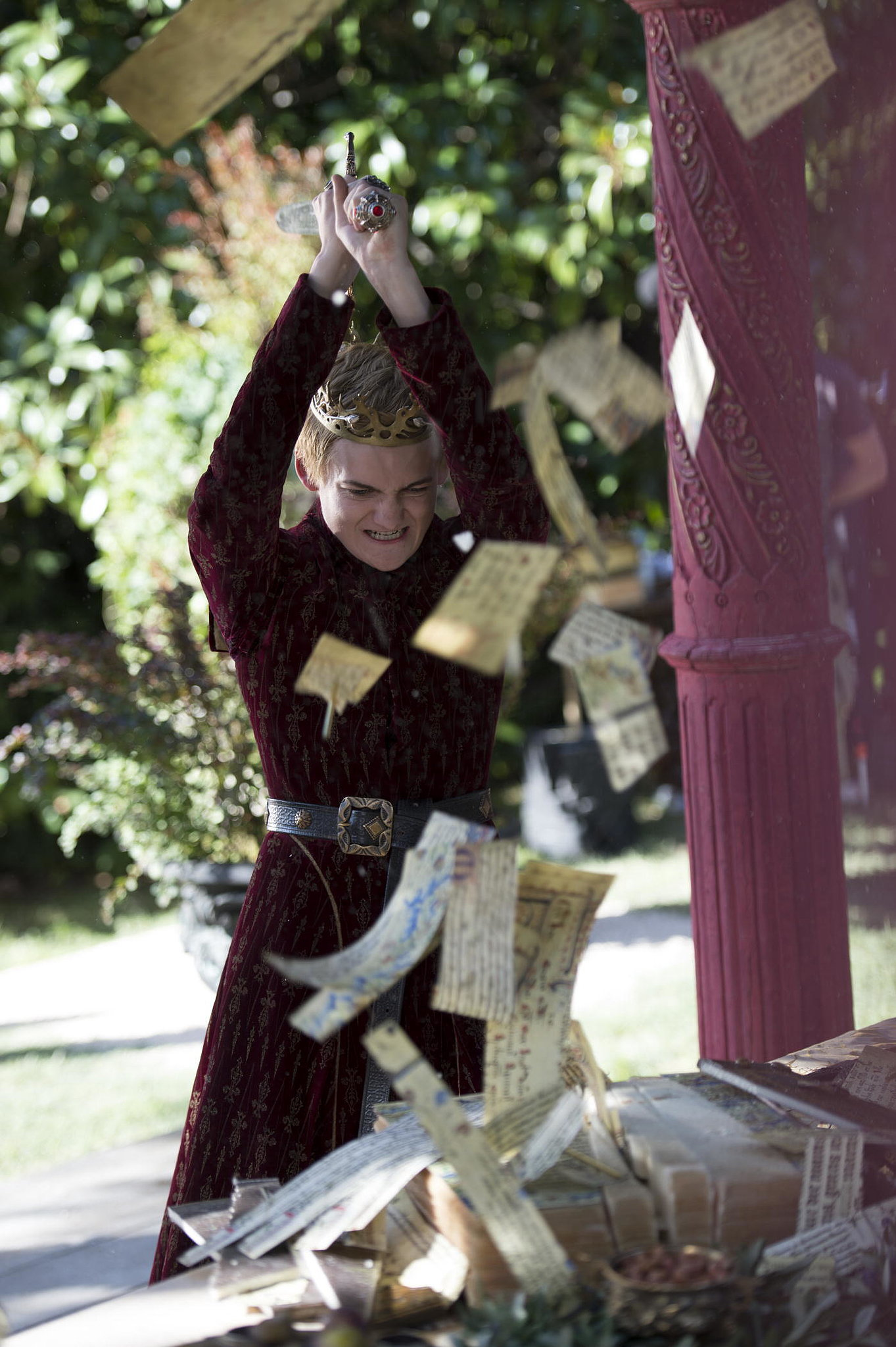 joffrey rudely chops up tyrions wedding gift check out