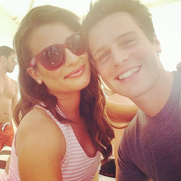 Lea Michele and Jonathan Groff took in the desert sun. Source: Instagram user msleamichele