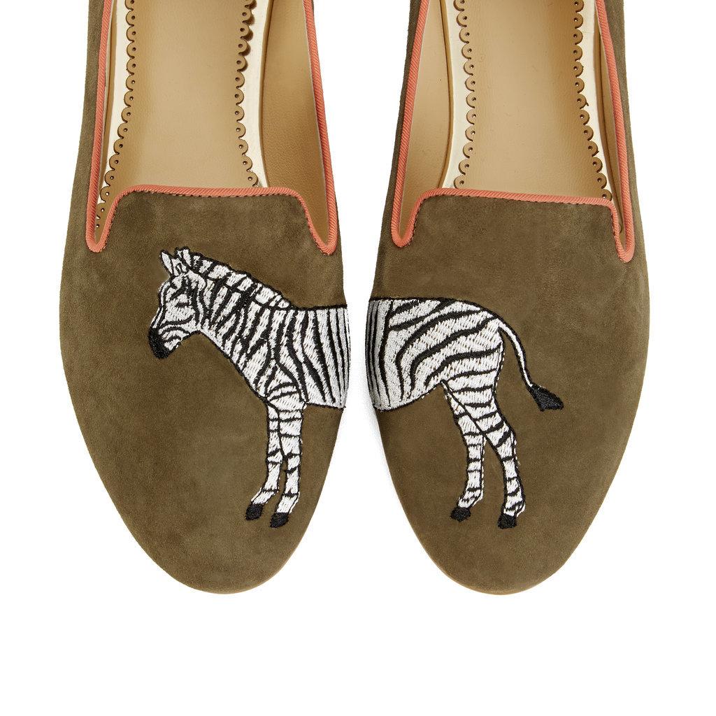Zebra Suede Smoking Slippers ($138)