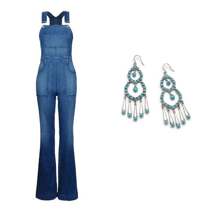 Stella McCartney Denim Dungarees ($834), Ralph Lauren Turquoise Chandelier Earrings ($78)