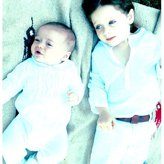 The Berman boys were decked in white for their impromptu photo shoot.  Source: Instagram user rachelzoe