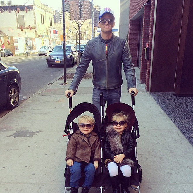 During a stroll through NYC, David Burtka snapped a shot of Neil Patrick Harris and their twins, Gideon and Harper.  Source: Instagram user burtka