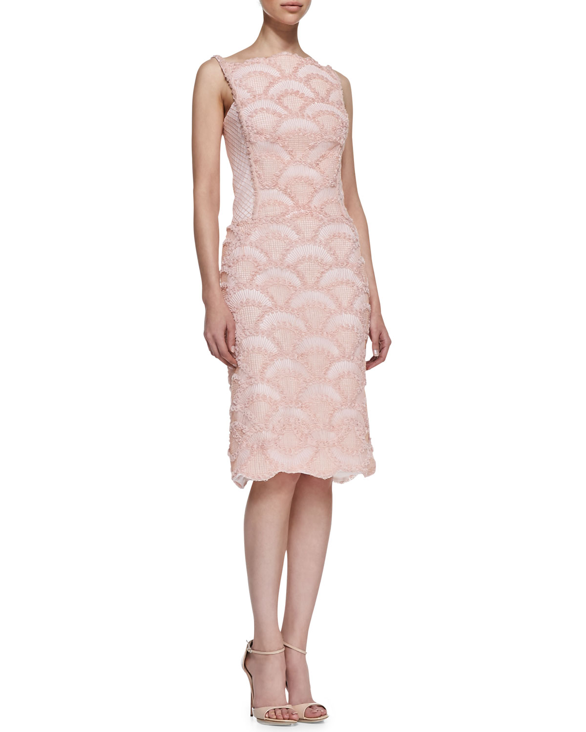 Tadashi Shoji sleeveless light-pink lace dress ($368)