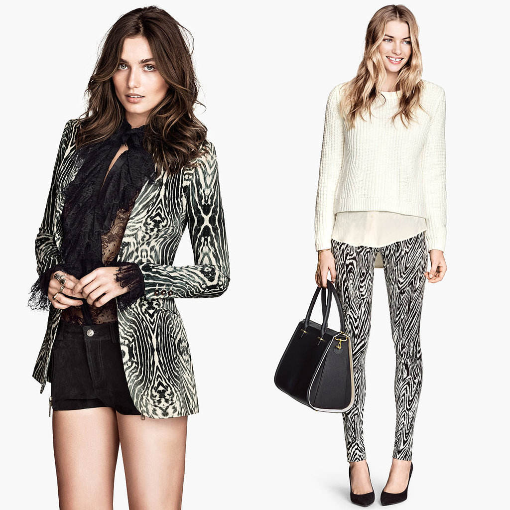 H&M Black and White Zebra-Print Blazer and Pants