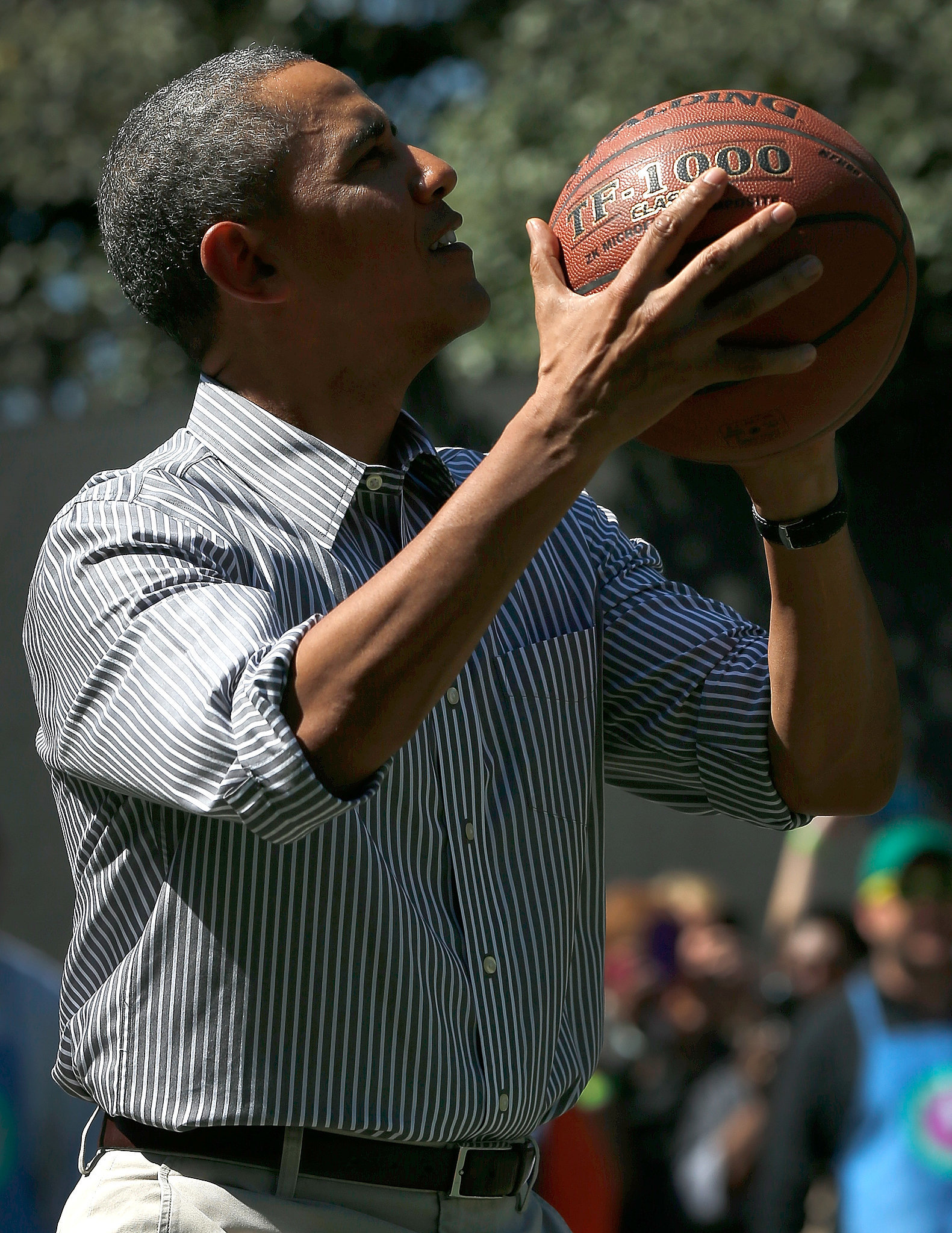 Mr. President also snuck in some hoops time.