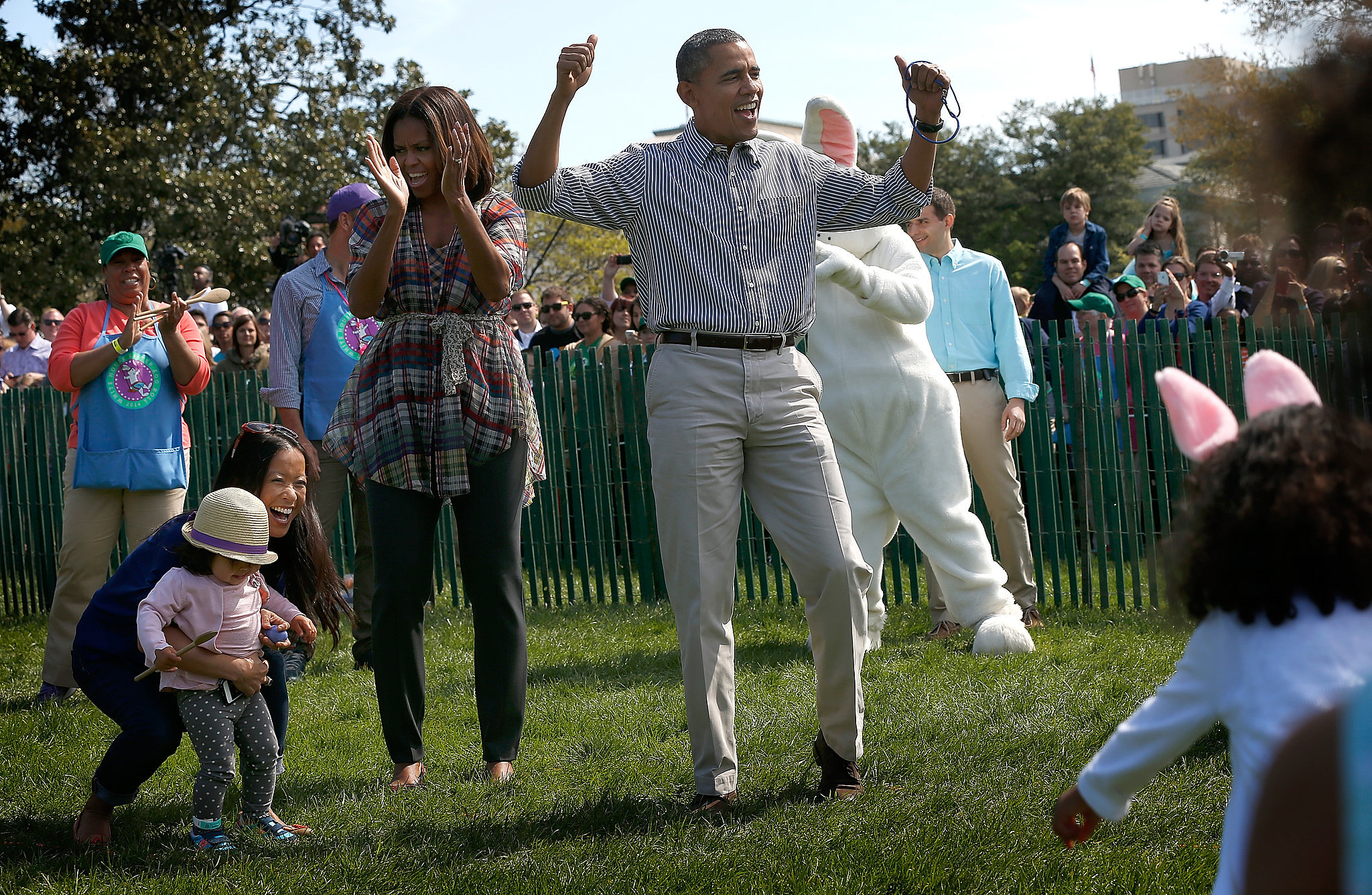 The Obamas cheered for all the kids.