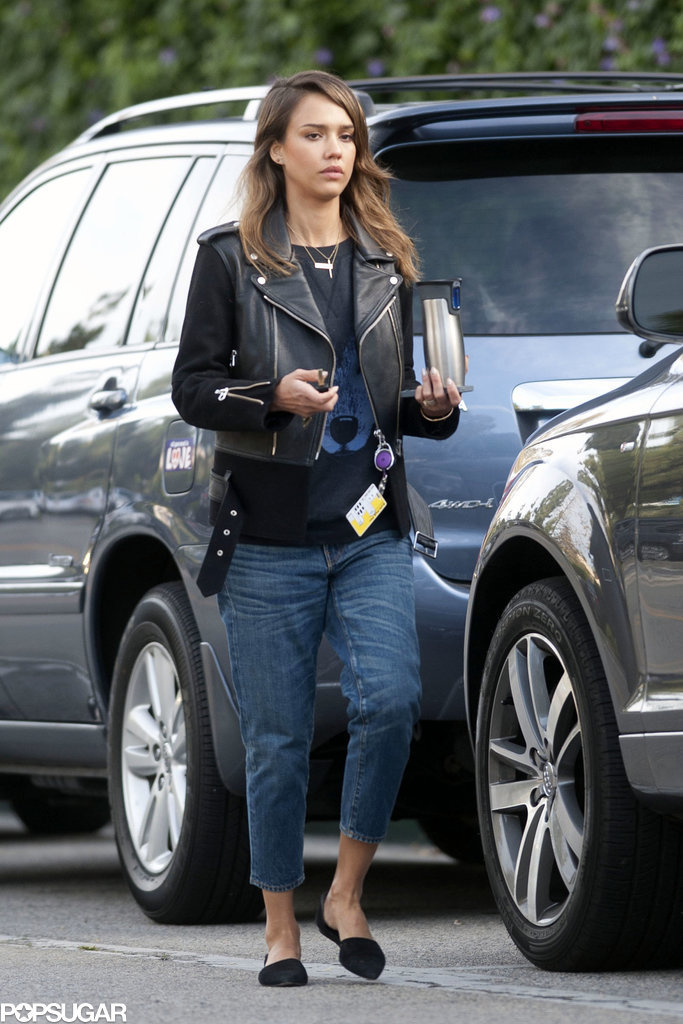 Jessica Alba in Leather and Wool Sandro Jacket