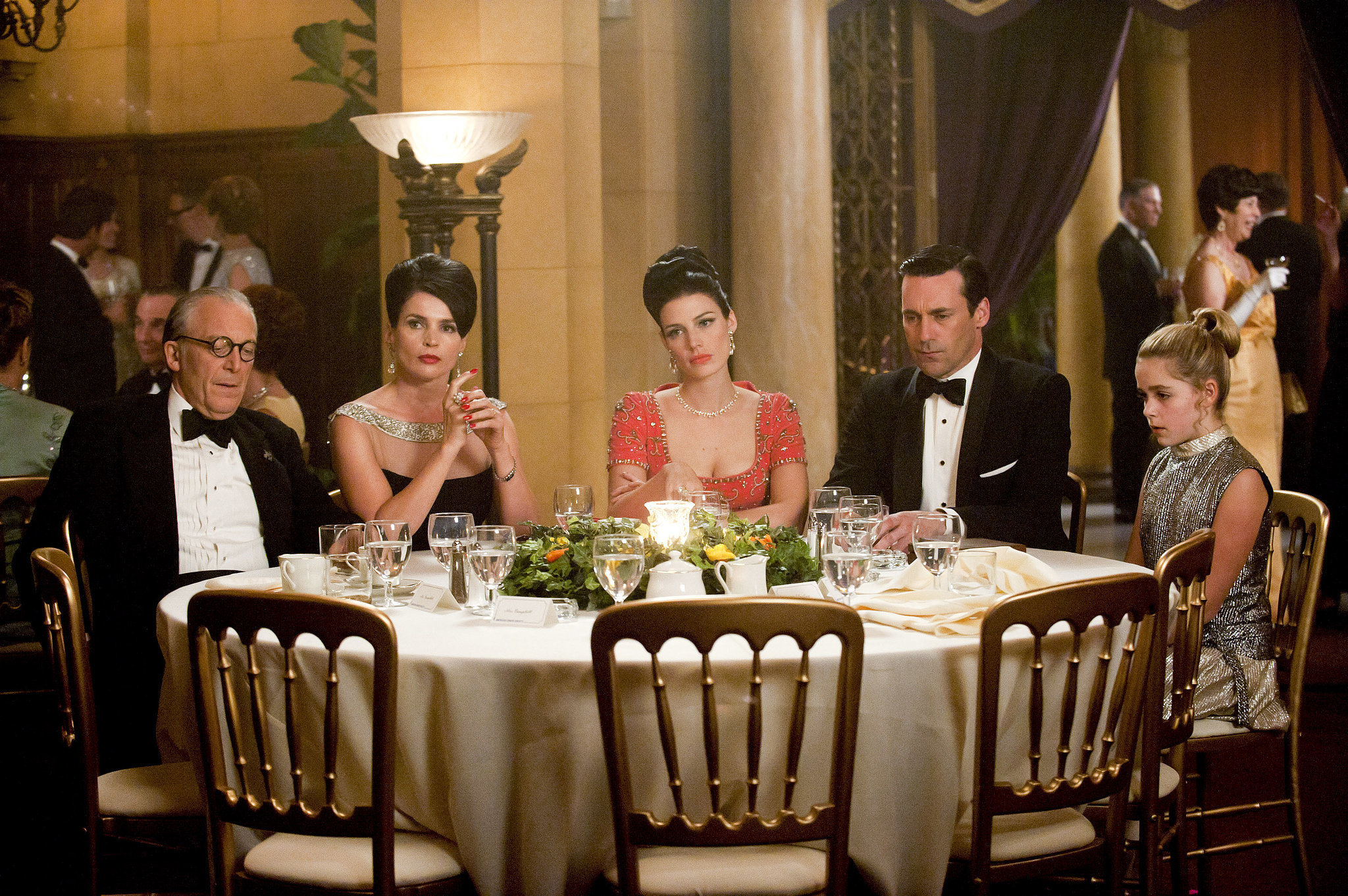 Unfortunately, Megan's mom and Roger Sterling are also at the dinner, and Sally walks in on them having . . . . relations. Though Don isn't involved, this is when Sally's trust in adults begins to shatter.