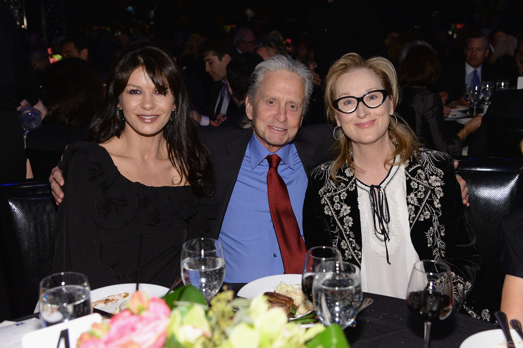 Meryl Streep sat with Michael Douglas and Catherine Zeta-Jones during the Monte Cristo Awards in NYC on Monday.