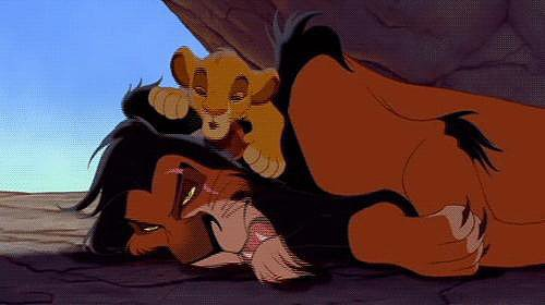 Disney leaves out the whole marrying your dead brother's widow thing, but Scar makes for a pretty scary version of Claudius, the evil, power-hungry uncle.