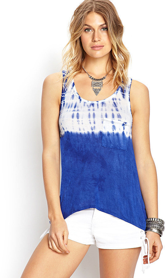 Forever 21 Blue and White Tie-Dye Tank