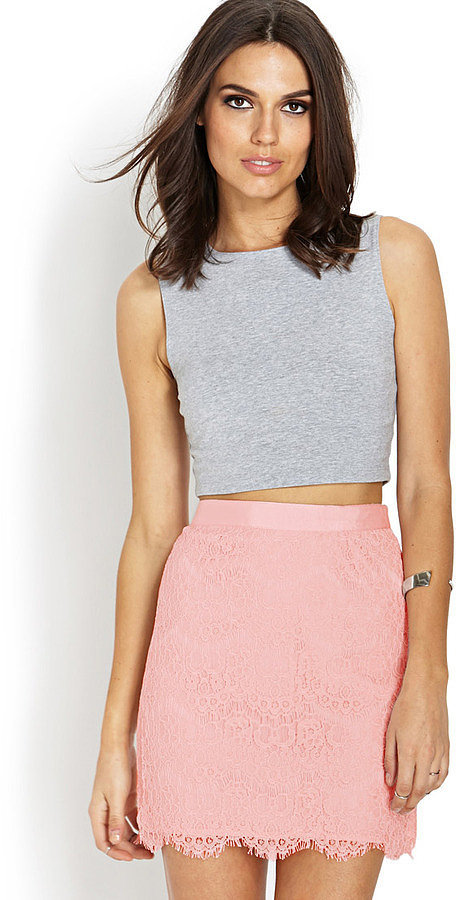 Forever 21 Pink Lace Miniskirt