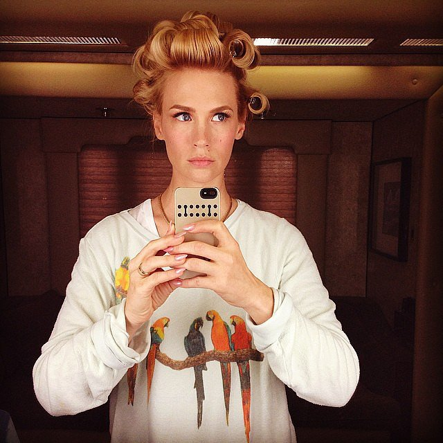 January Jones is the master of curlers-focused selfies. Source: Instagram user januaryjones