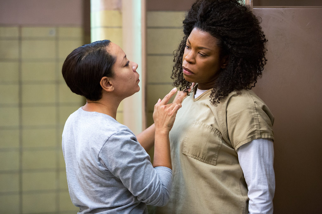 Oh! Confrontation time. Mendoza (Selenis Leyva) gets all up in Vee's face. Source: Netflix