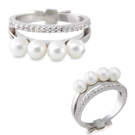 Gold Philosophy Layered Pearl and Rhinestone Ring