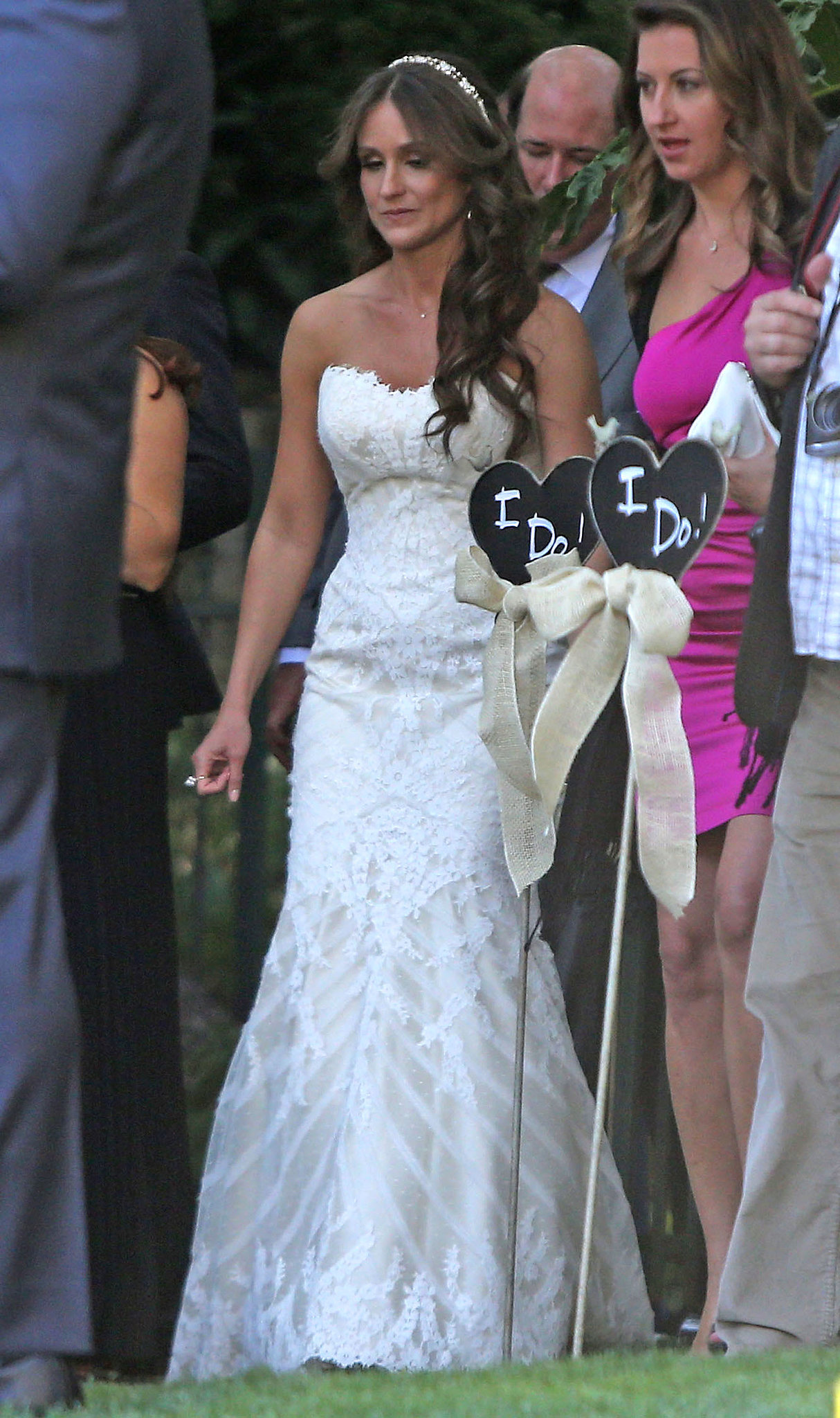 Brian's bride, Celeste Ackelson, wore a strapless gown.