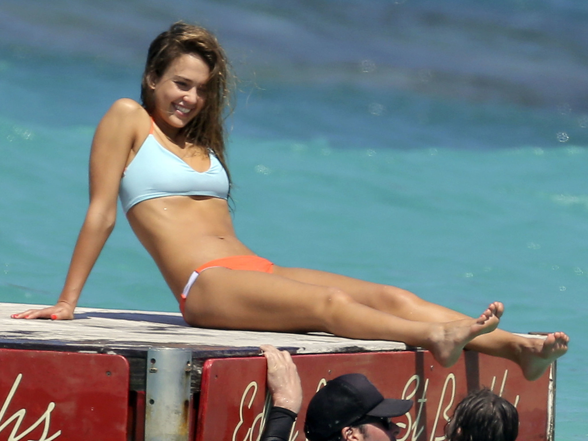 Jessica relaxed on a floating raft in St. Barts in April 2013.