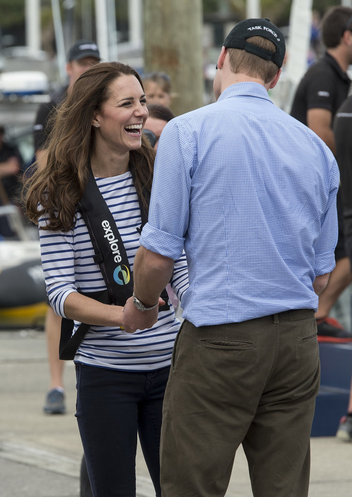 William joked with Kate in April 2014 after she beat him during two yacht races in New Zealand.