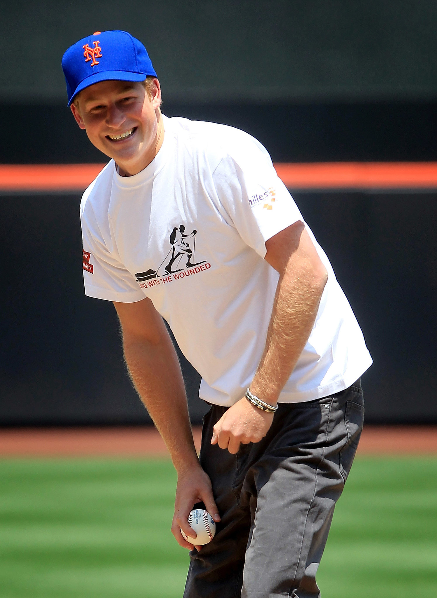 The prince threw the opening pitch before the New York Mets played the Minnesota Twins in New York in June 2010.