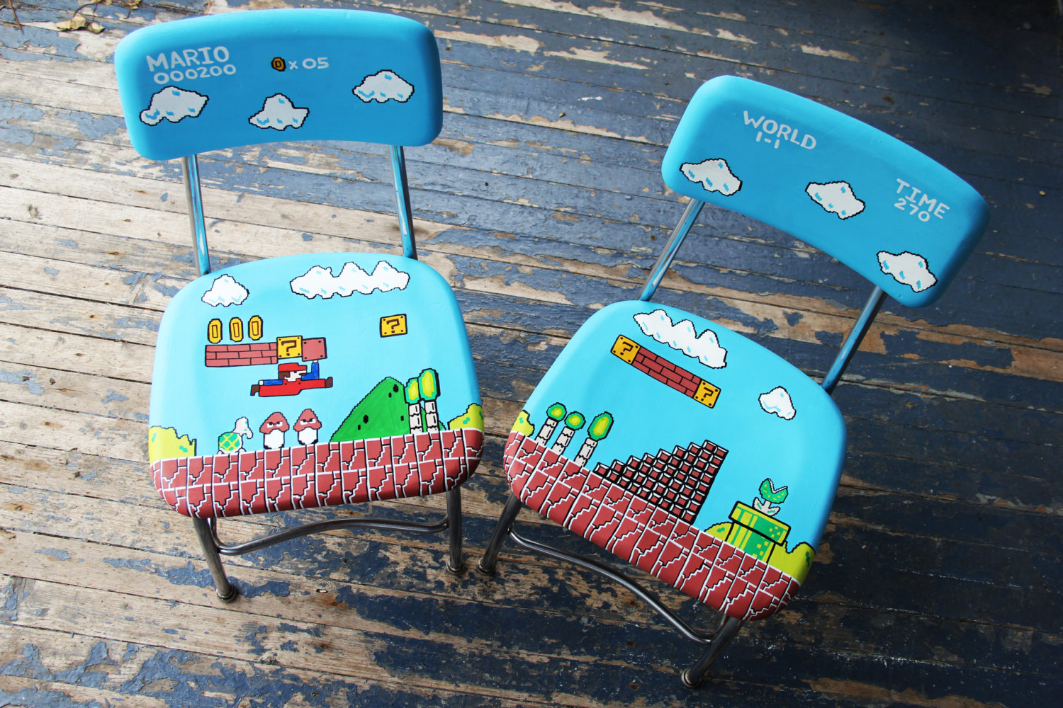 Just picture it now . . . you and a friend playing on a hand-painted Mario chair set. Doesn't get any better.