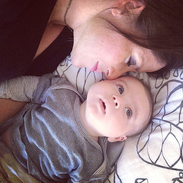 Soleil Moon Frye enjoyed some snuggle time with baby Lyric Goldberg. Source: Instagram user moonfrye