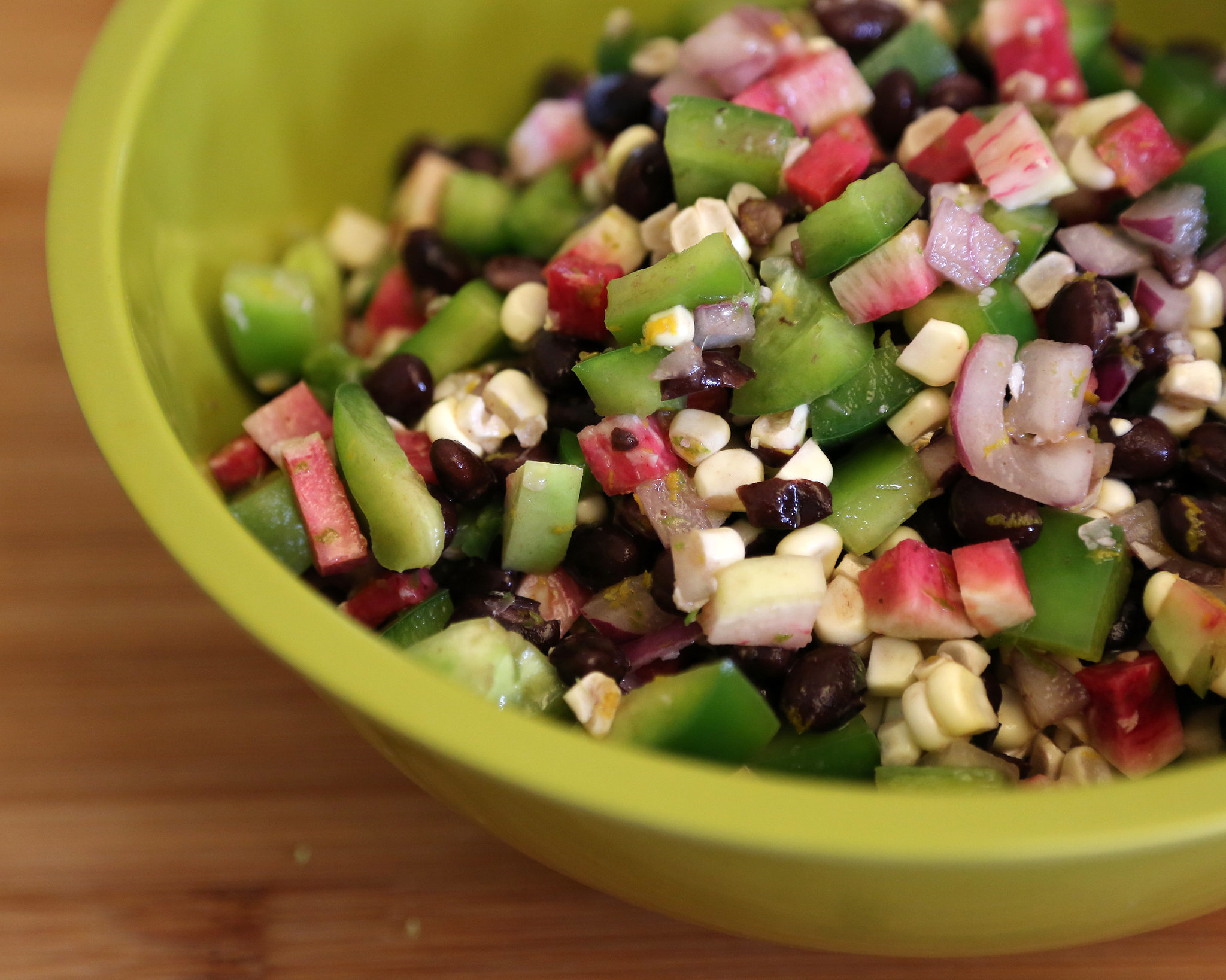 Corn, Radish, and Black Bean Salsa