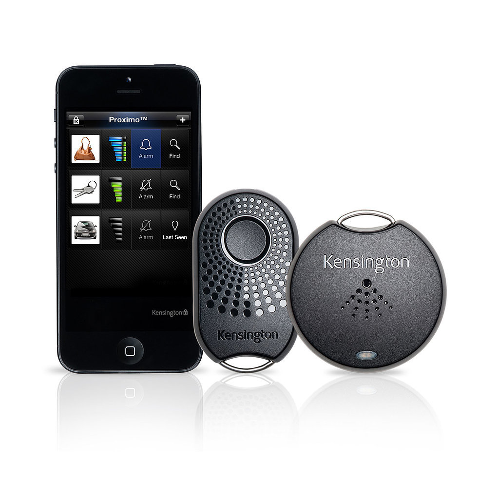 The app-enabled Proximo Monitoring System lets her know where valuables are at all times. The starter kit ($60) includes one fob that alerts her when she's left her phone behind and a tag to locate her personal items (keys, purse, etc.).
