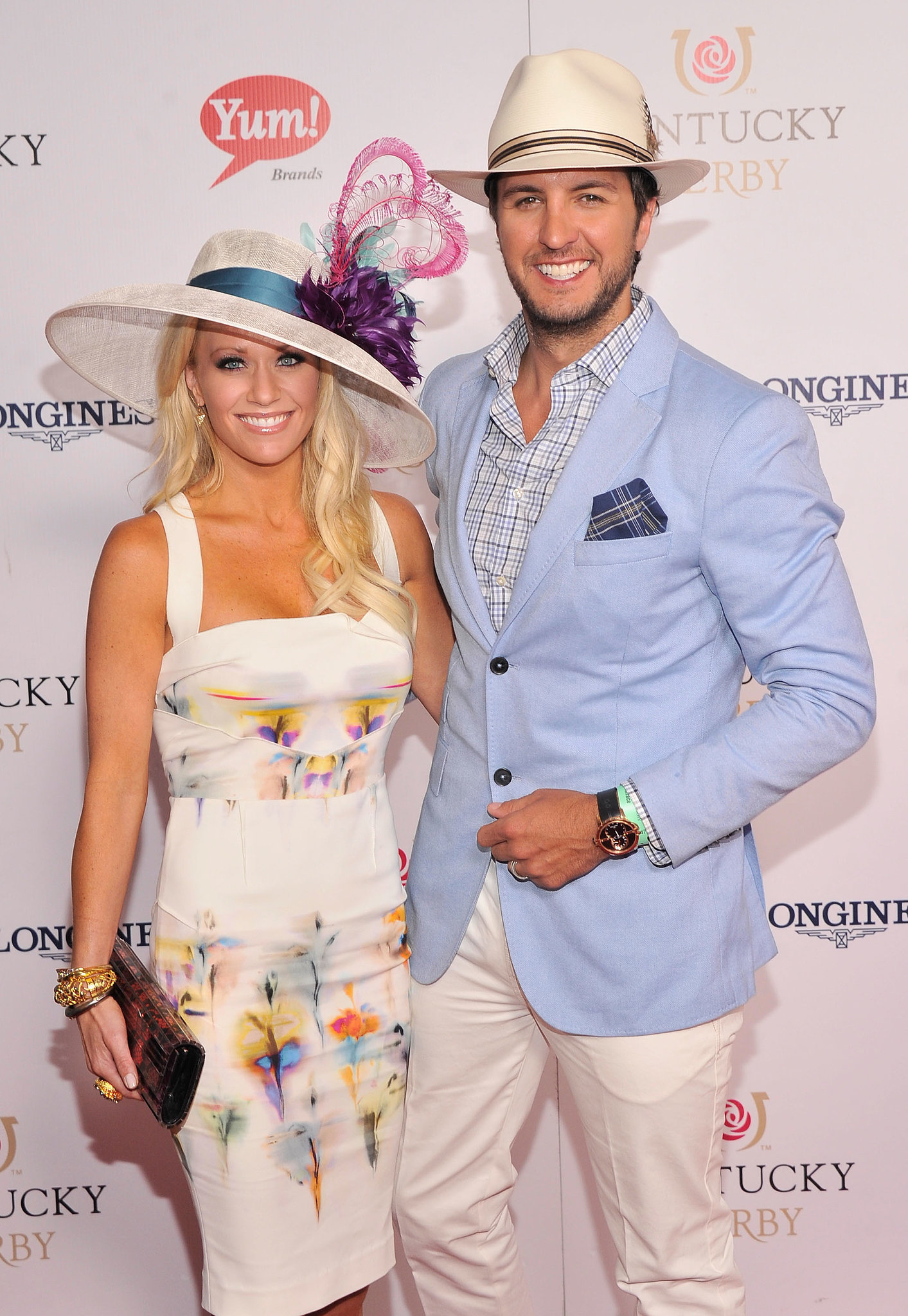Luke Bryan and his wife, Caroline Boyer, coordinated their hats in 2013.