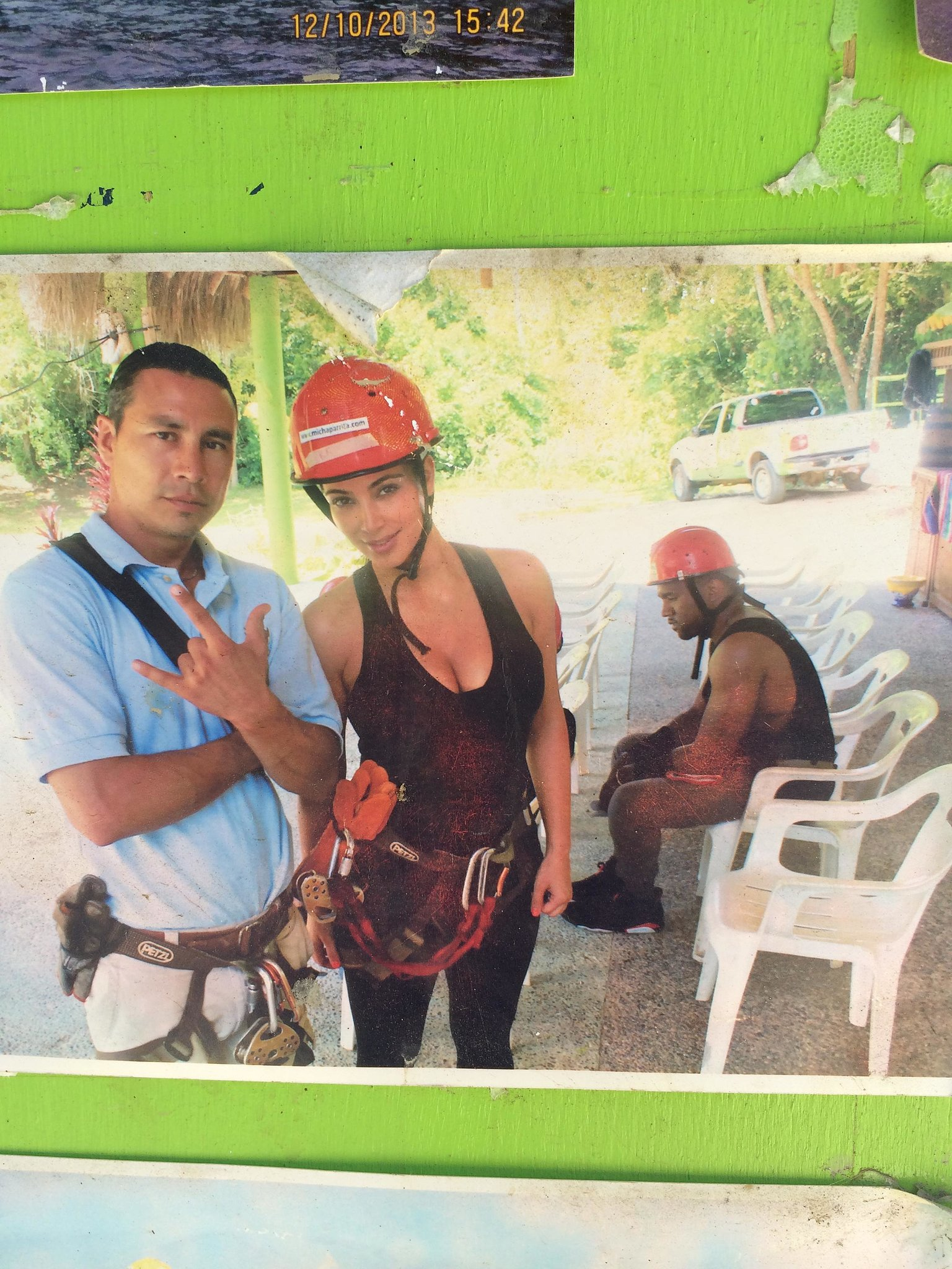 """""""Found it in a random zip-lining office in the middle of Mexico. They took it, and I don't think it's ever been online . . . """" Alternative caption: Kanye West couldn't look any less excited about zip-lining. Source: Reddit user loltatz via Imgur"""