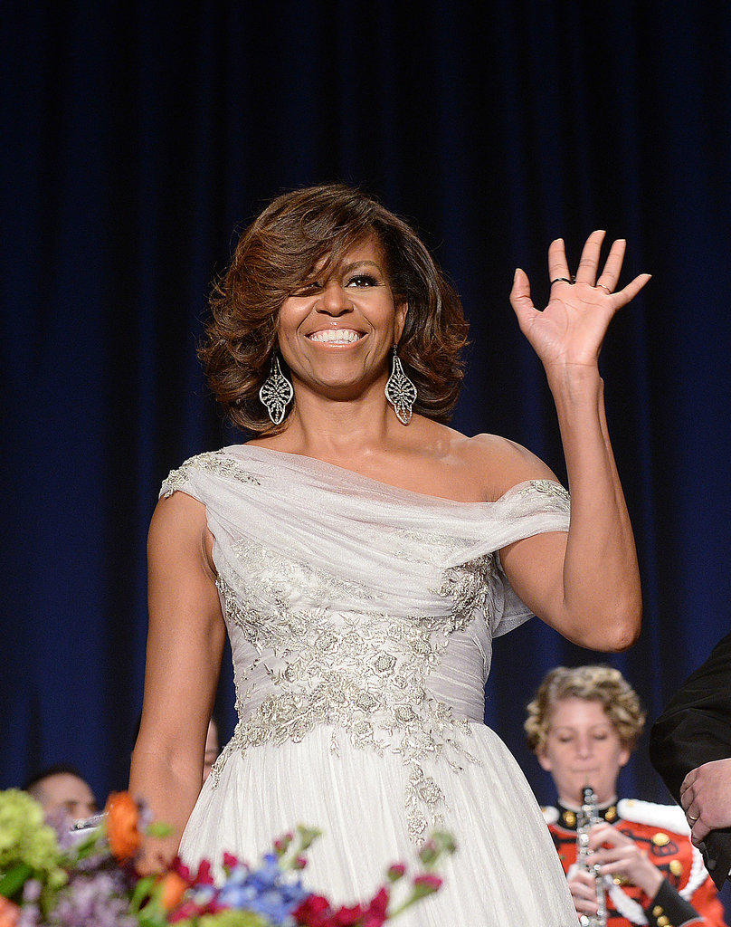 Michelle Obama beamed in a Marchesa gown.