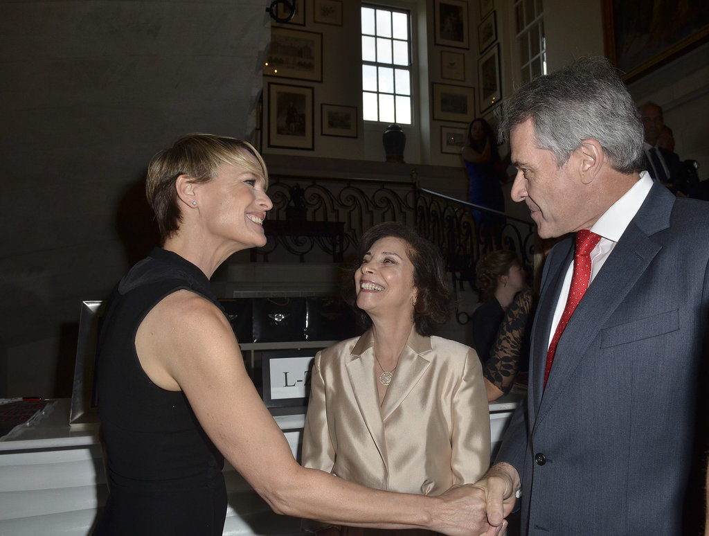 Robin Wright met Peter Westmacott, the British ambassador to the United States, and his wife, Susie Nemazee, on Friday.