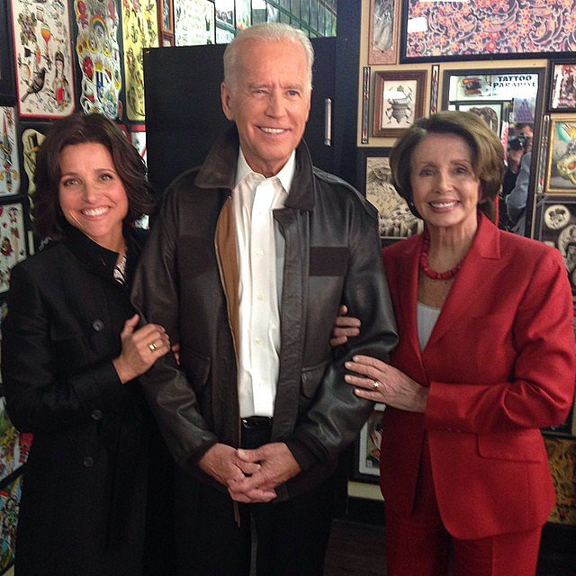 """Julia took a break from filming with her """"costars"""": Vice President Joe Biden and House Minority Leader Nancy Pelosi.  Source: Instagram user officialjld"""