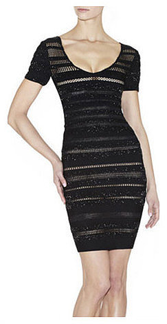 Mesh Crochet Short Sleeve Bandage Dress
