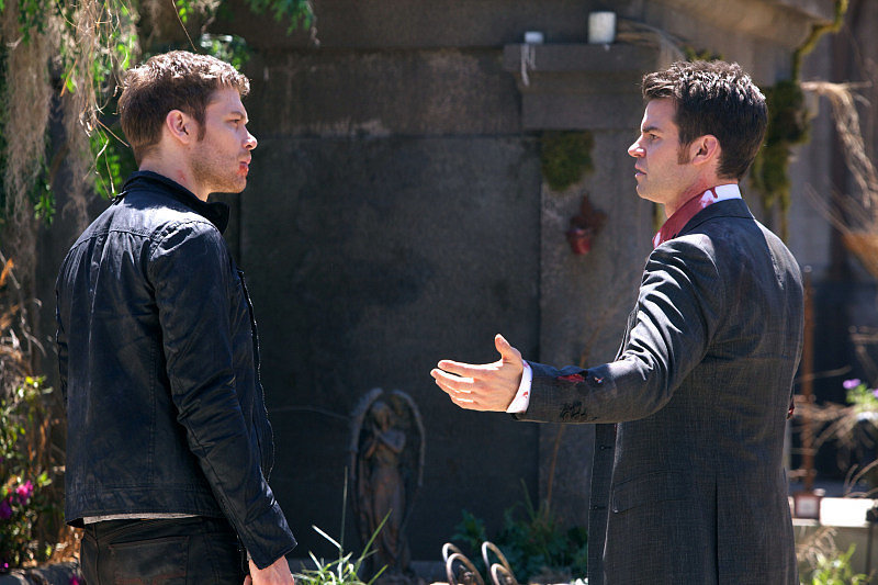 Joseph Morgan as Klaus and Daniel Gillies as Elijah on the season finale of The Originals.