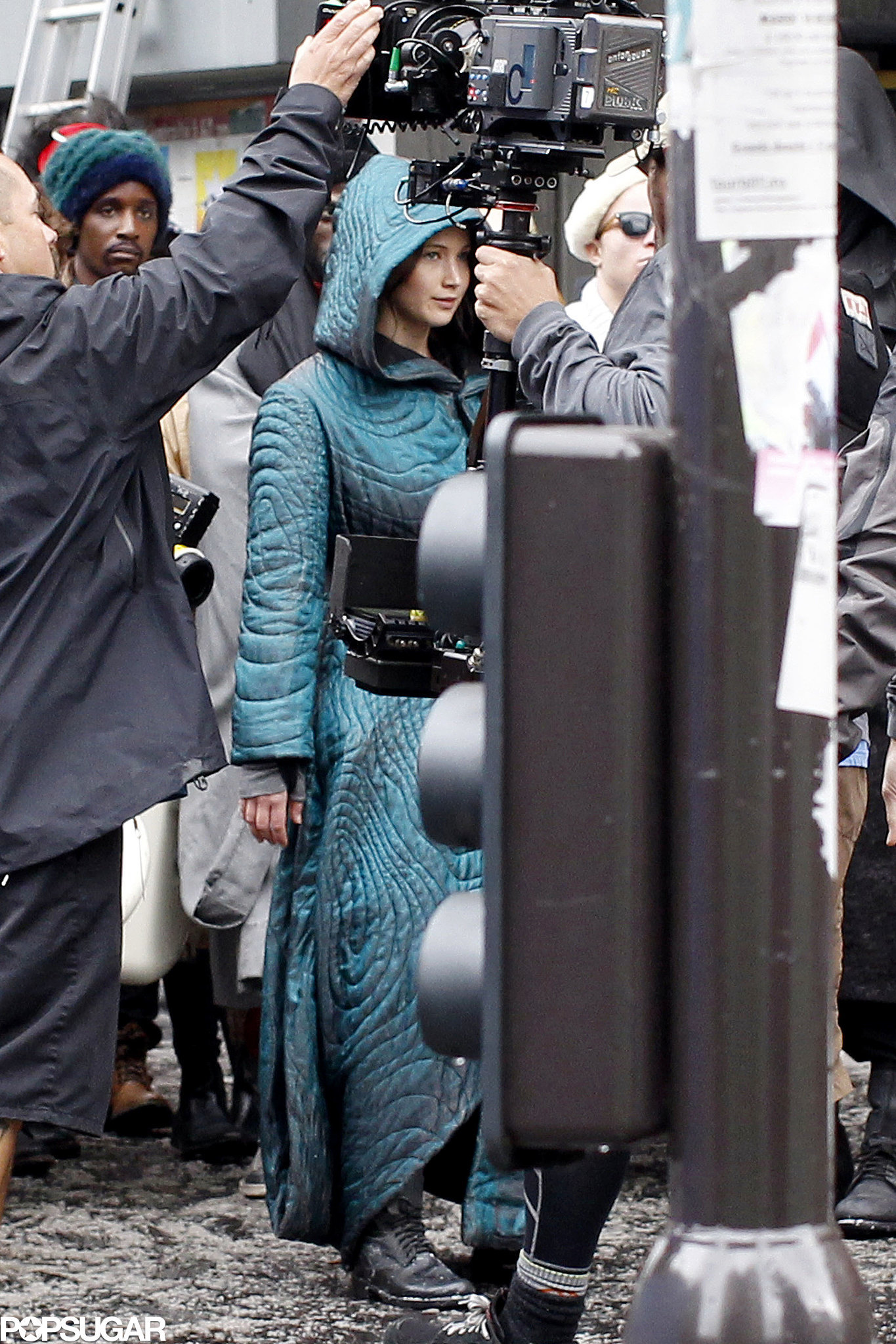 Jennifer got ready to film a scene in Paris.