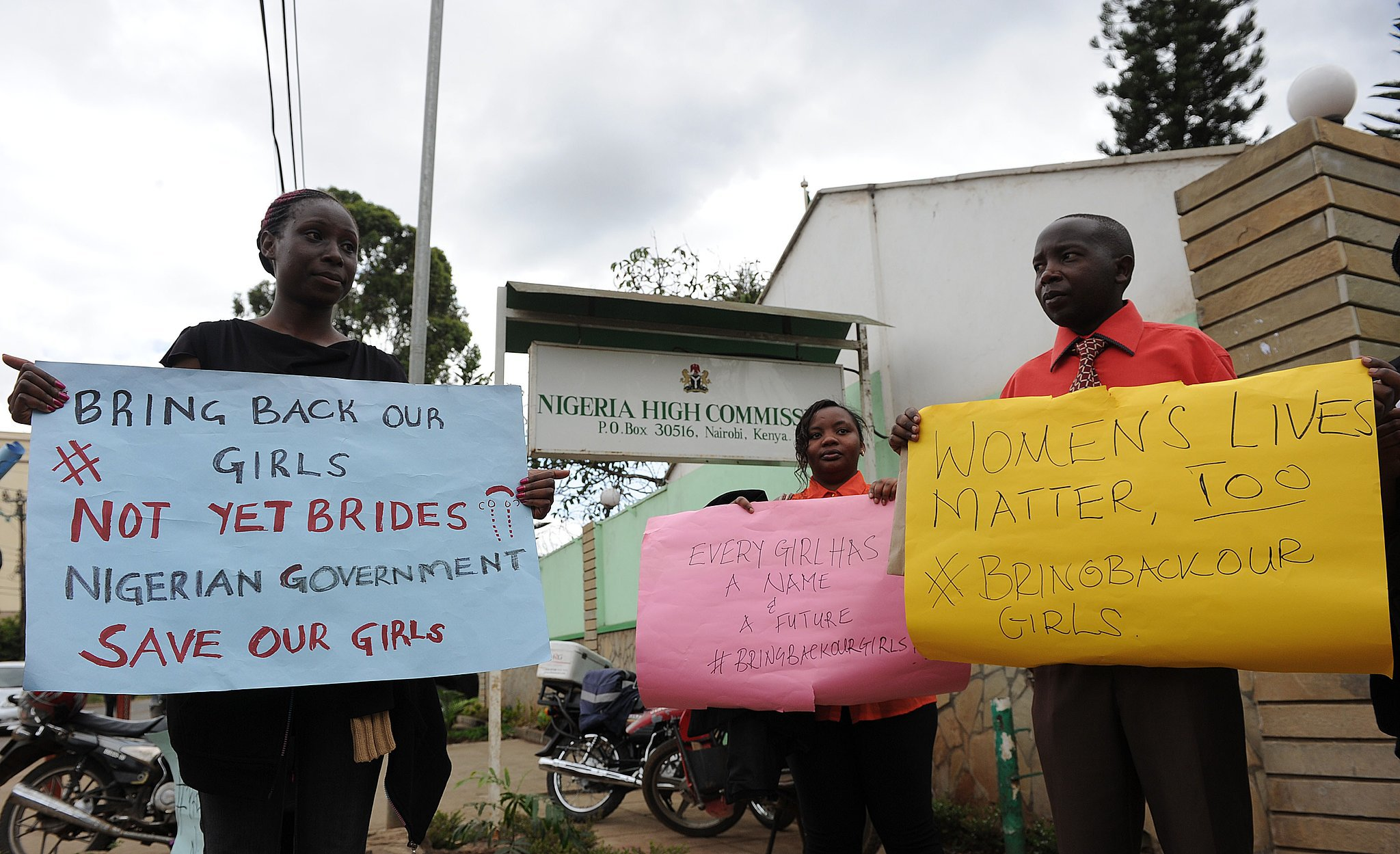 People showed their support for the kidnapped girls in Kenya.
