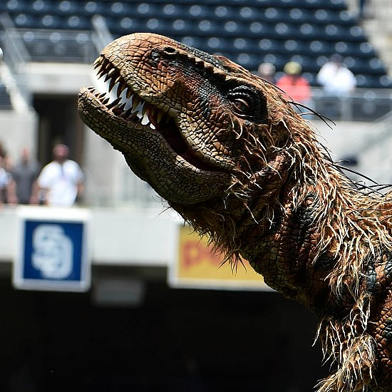 Dinosaur Throws First Pitch
