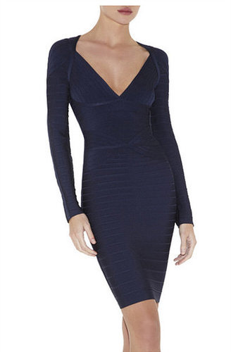 Navy Blue V-Neck Structure Bandage Dress