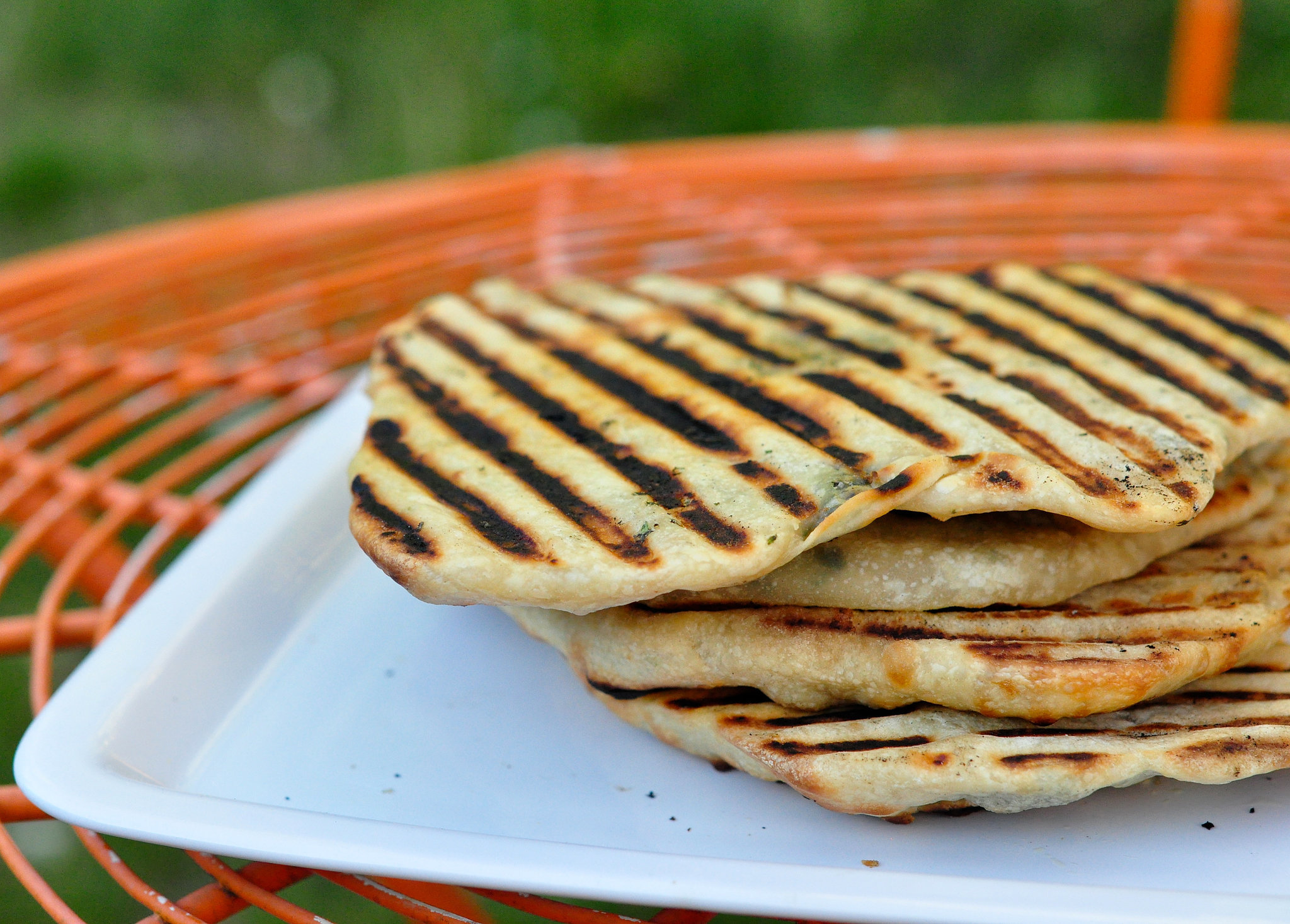 Grilled Flatbread Stuffed With Herbs and Cheese