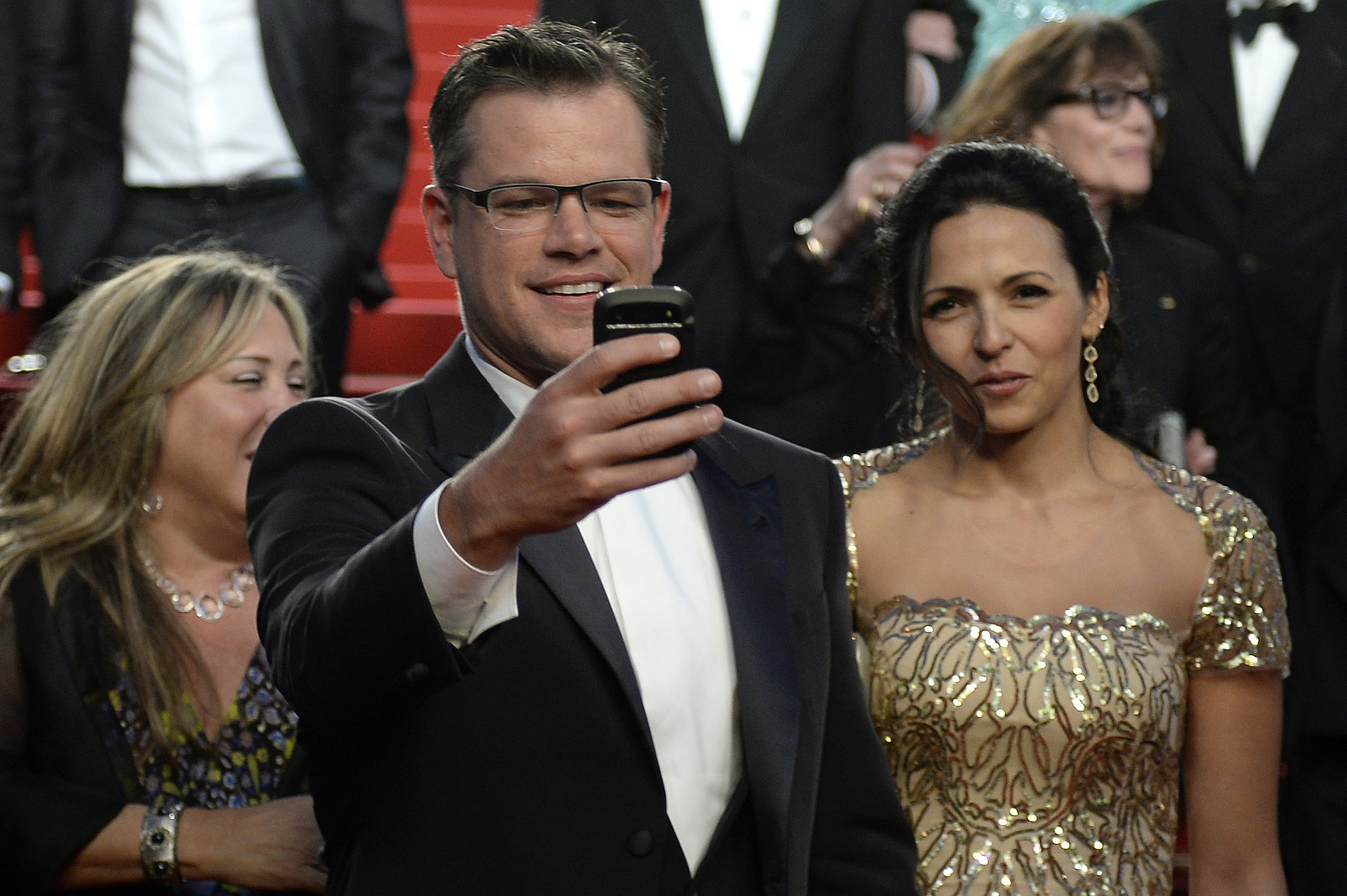 Matt Damon made sure to capture the moment on his phone while attending the screening of Behind the Candelabra in 2013.