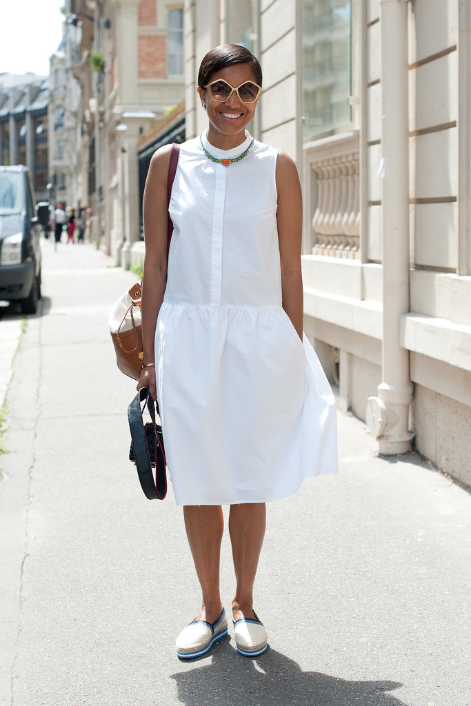 Tamu McPherson took the minimalist approach in a crisp white dress and flats.