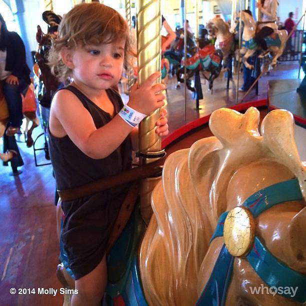 Brooks Stuber enjoyed a ride on the Santa Monica Pier carousel. Source: Instagram user mollybsims