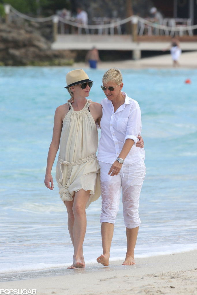 Ellen DeGeneres and Portia de Rossi took a romantic walk on the beach during a St. Barts getaway in December 2012.